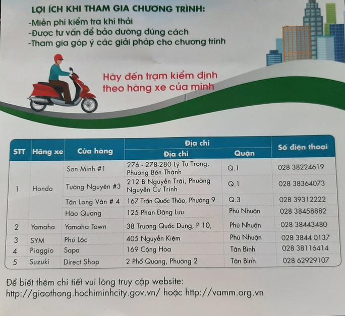 Người dân TP HCM được kiểm tra khí thải xe máy miễn phí - Ảnh 2.