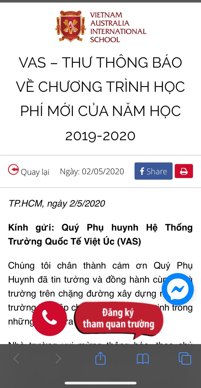 Trường Quốc tế Việt Úc giảm 70% học phí cho thời gian nghỉ học và học trực tuyến - Ảnh 1.