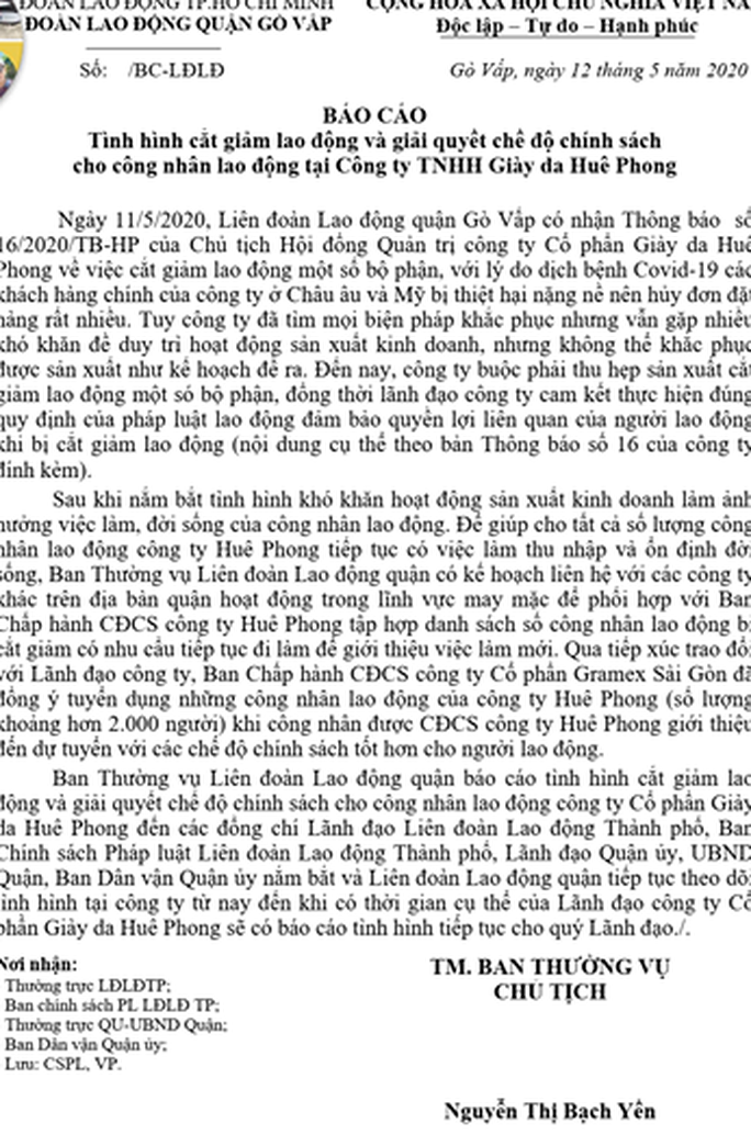 Quyền lợi của 2.200 công nhân Huê Phong mất việc giải quyết thế nào? - Ảnh 3.