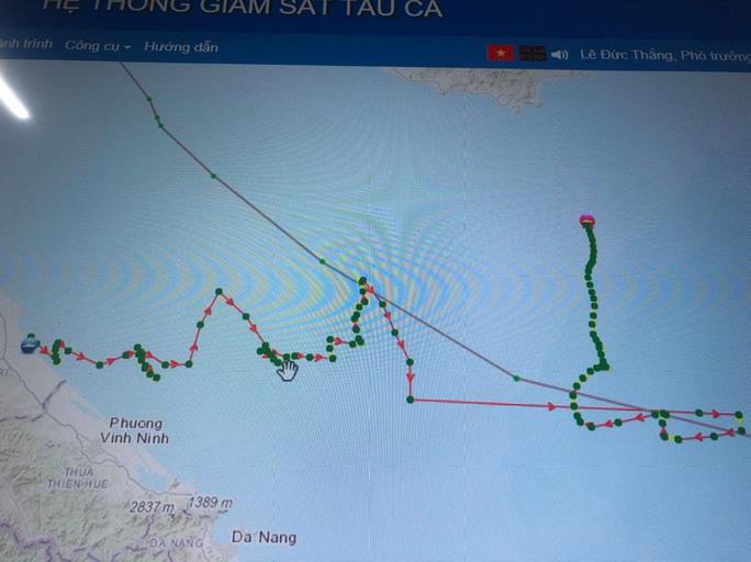 Hướng đi của tàu cá QT-95645-TS trước khi mất kết nối