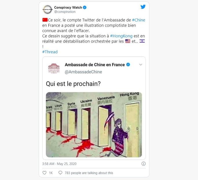 Đại sứ quán Trung Quốc tại Pháp gây tranh cãi với biếm họa chống Mỹ - Ảnh 1.