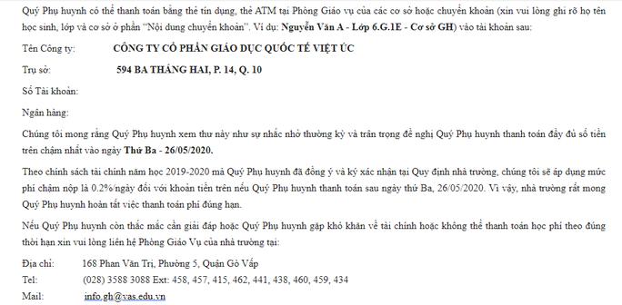 """Nộp học phí chậm, phụ huynh Trường Việt Úc """"bị phạt"""" 0,2 %/ngày - Ảnh 2."""