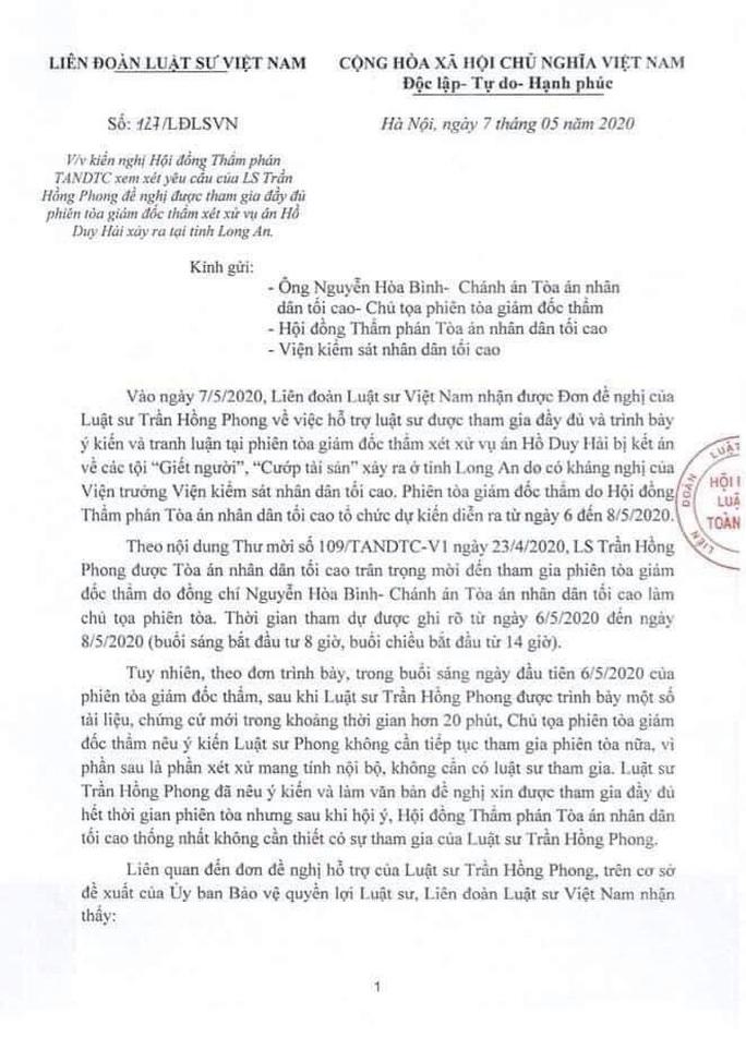 Vụ Hồ Duy Hải: TAND Tối cao chấp nhận kiến nghị của Liên đoàn Luật sư Việt Nam - Ảnh 2.