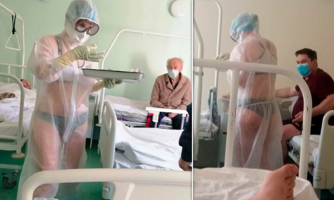 Bước ngoặt mới của nữ y tá Nga mặc bikini bên trong đồ bảo hộ - Ảnh 2.