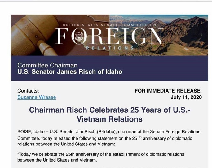 Thượng viện Mỹ ra tuyên bố kỷ niệm 25 năm quan hệ Việt - Mỹ - Ảnh 2.