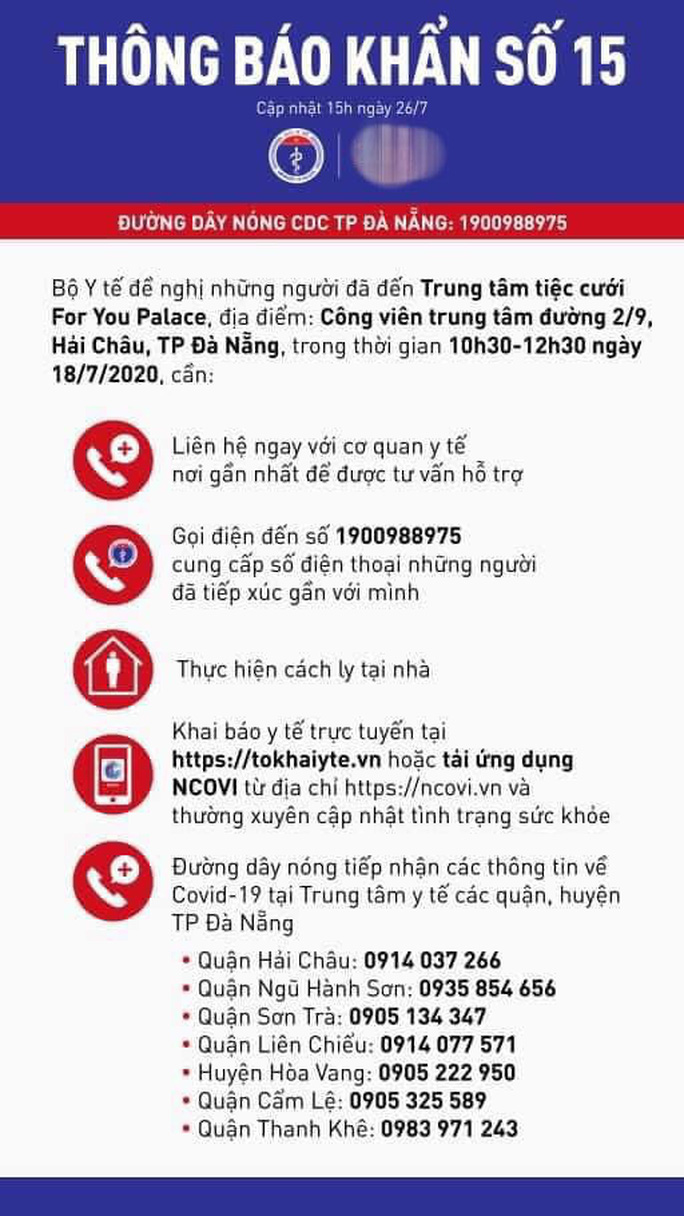 Bộ Y tế thông báo khẩn liên quan bệnh nhân Covid-19 ở Đà Nẵng - Ảnh 1.