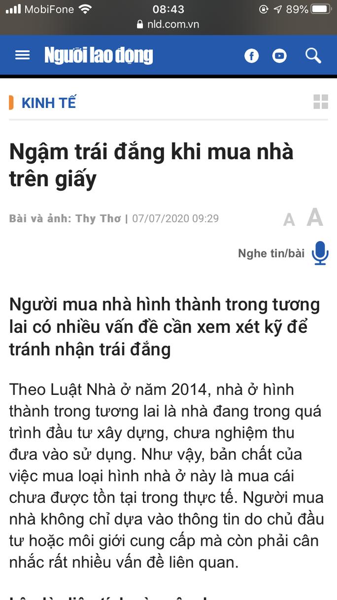 TP HCM: Đề nghị kiểm tra tình trạng lừa dối khách hàng mua nhà mà Báo Người Lao Động đã phản ánh - Ảnh 2.