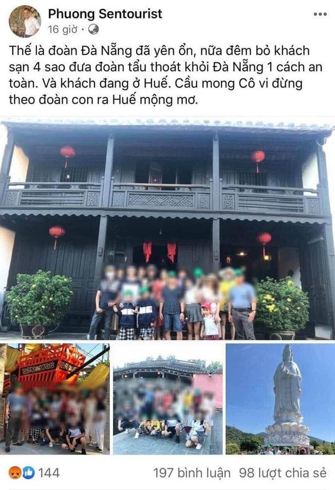 """Hướng dẫn viên khoe """"chiến tích"""" dẫn đoàn khách tẩu thoát khỏi Đà Nẵng bị phạt 10 triệu đồng - Ảnh 2."""