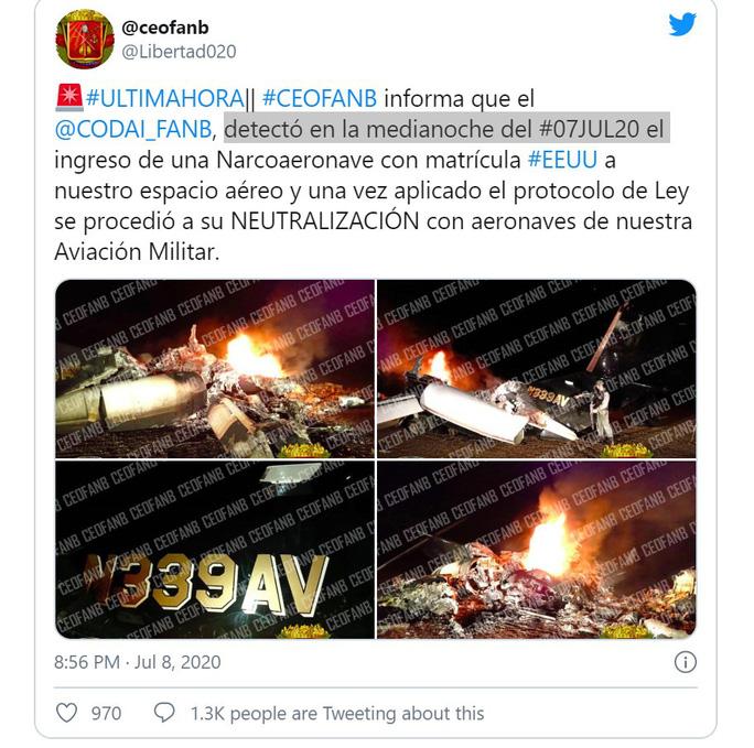 Venezuela tuyên bố bắn rơi máy bay mang số hiệu Mỹ - Ảnh 2.