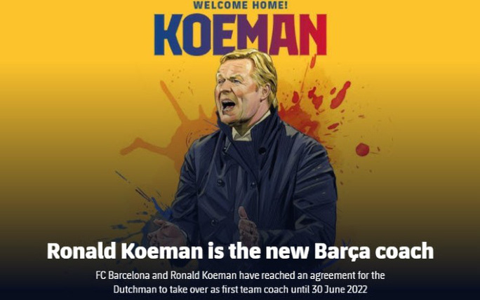HLV Ronald Koeman chính thức dẫn dắt Barcelona, làm thầy Messi - Ảnh 1.
