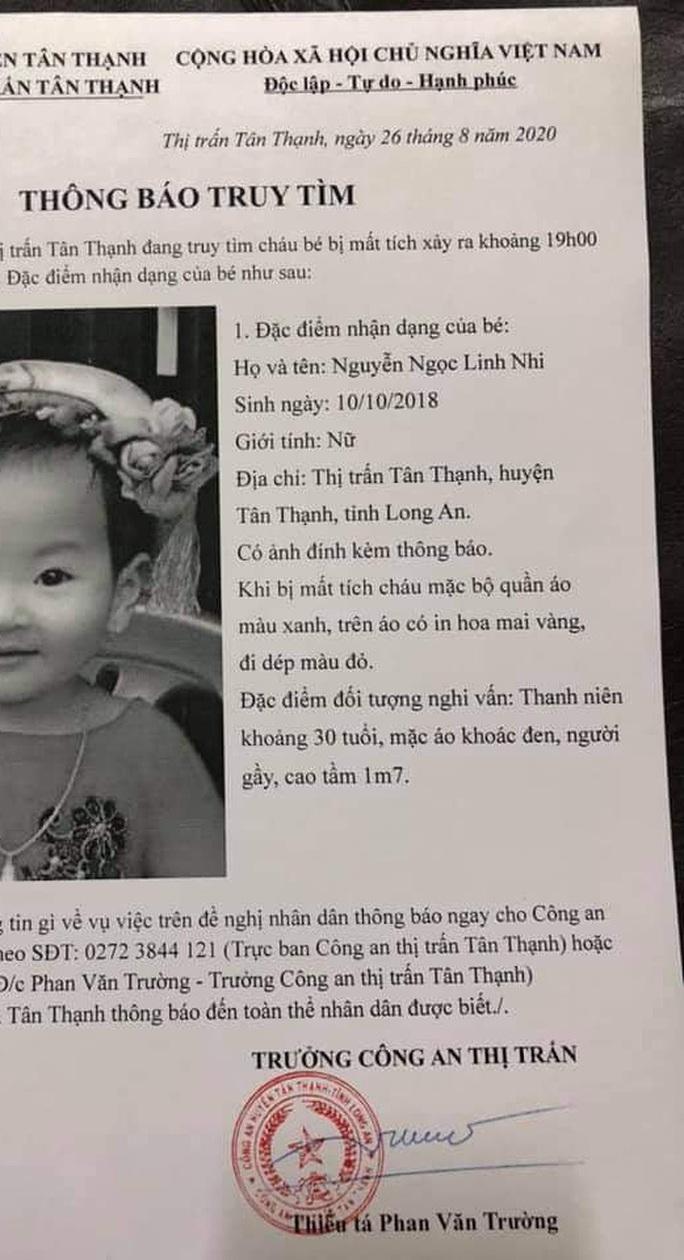 Sự thật vụ bé gái 2 tuổi ở Long An bị mất tích lan truyền trên mạng xã hội - Ảnh 1.