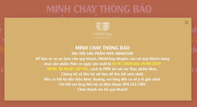 Minh Chay thông báo hồi sản phẩm pate có độc tố cực mạnh  - Ảnh 1.