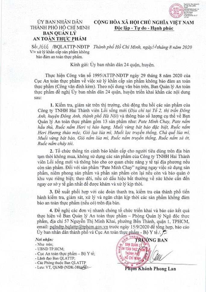 TP HCM cảnh báo mới nhất với người đã sử dụng pate Minh Chay - Ảnh 1.