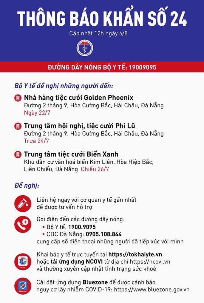 Thông báo khẩn liên quan tới 3 trung tâm, nhà hàng tiệc cưới ở Đà Nẵng - Ảnh 1.