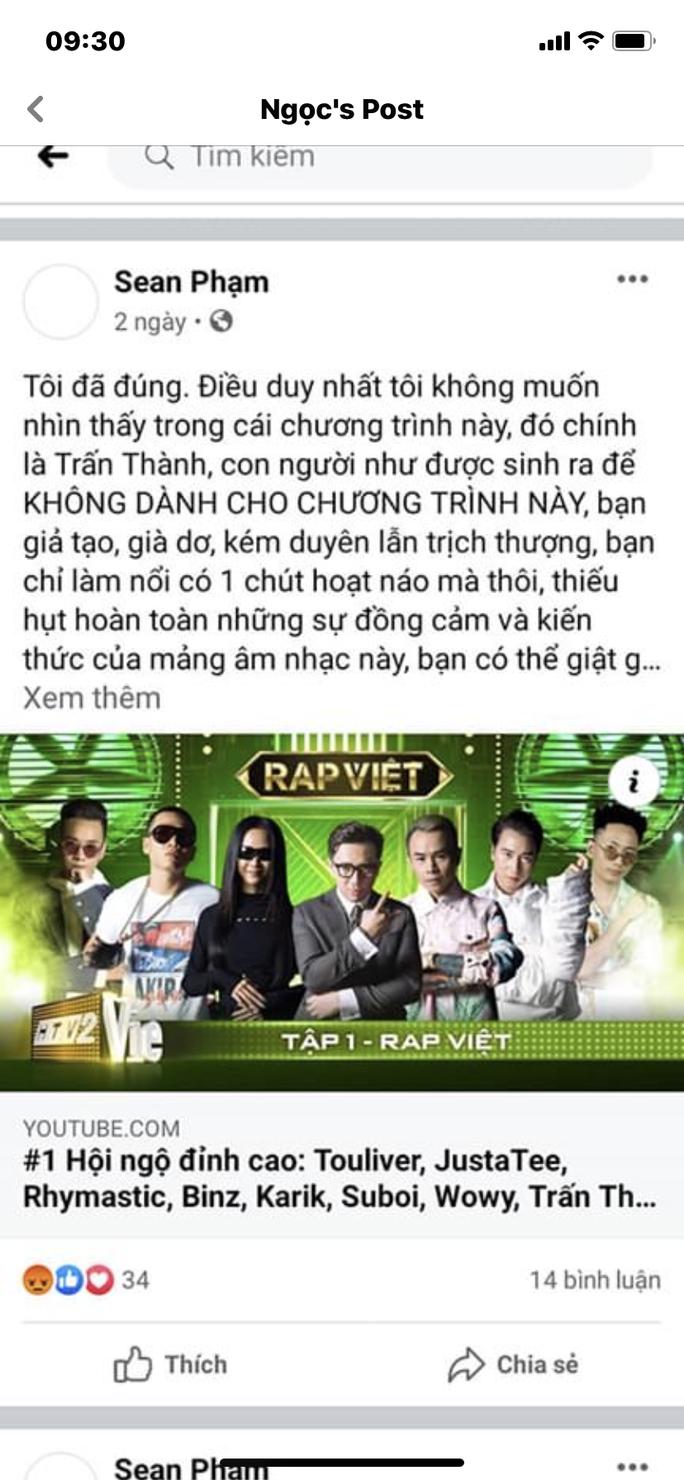 Bị chê khi dẫn chương trình Rap Việt, Trấn Thành nói gì? - Ảnh 2.