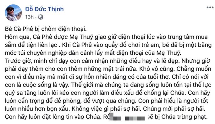 Con trai vợ chồng Thanh Thuý - Đức Thịnh bị dàn cảnh cướp điện thoại - Ảnh 2.