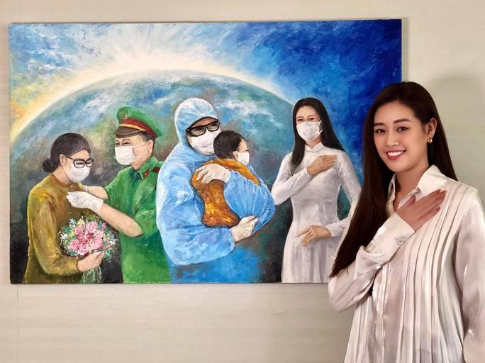 Hoa hậu Khánh Vân đấu giá tranh ủng hộ quỹ phòng chống Covid-19 - Ảnh 3.