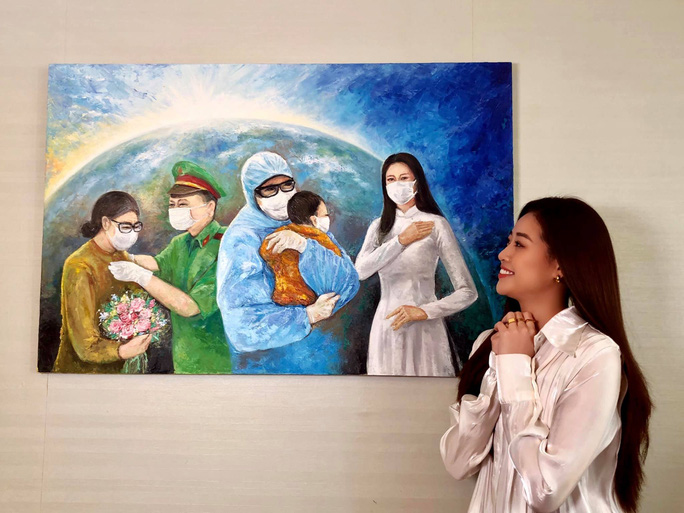 Hoa hậu Khánh Vân đấu giá tranh ủng hộ quỹ phòng chống Covid-19 - Ảnh 2.