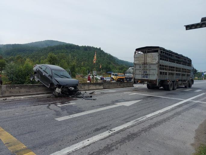 Vượt xe tải gặp đàn bò băng qua đường, xế hộp ủi nát dải phân cách - Ảnh 2.