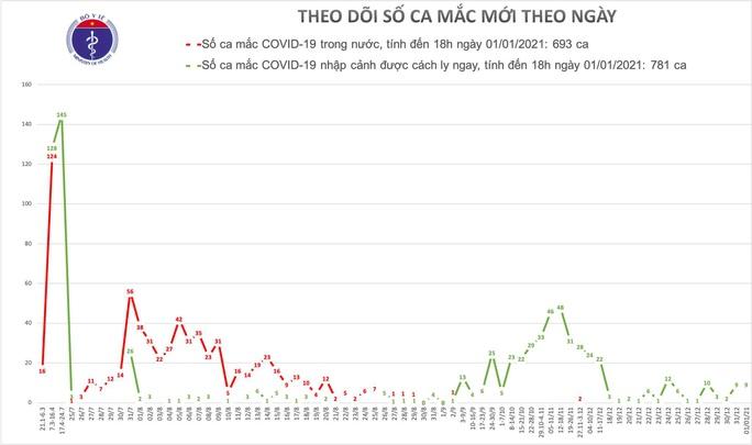 Việt Nam phát hiện thêm 9 ca Covid-19 trong ngày đầu năm mới - Ảnh 1.