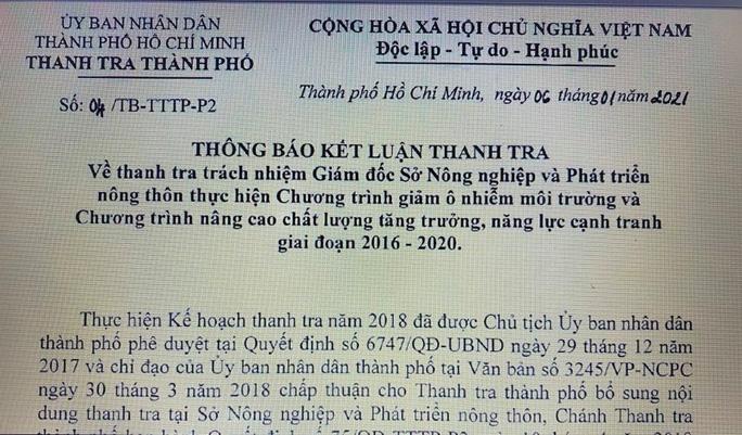 Kết luận thanh tra về trách nhiệm Giám đốc Sở NN & PTNT TP HCM - Ảnh 1.