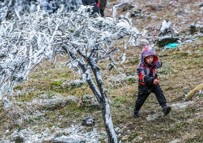 Hàng ngàn du khách bất chấp rét buốt lên đỉnh Mẫu Sơn ngắm băng tuyết - Ảnh 4.