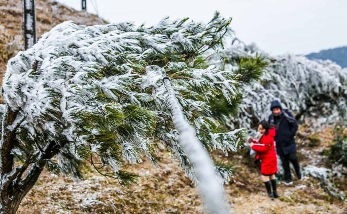 Hàng ngàn du khách bất chấp rét buốt lên đỉnh Mẫu Sơn ngắm băng tuyết - Ảnh 13.