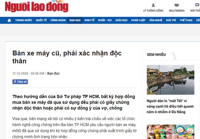 TP HCM xác minh nội dung bán xe máy cũ mà Báo Người Lao Động phản ánh - Ảnh 1.
