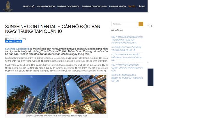Cảnh báo thông tin không đúng sự thật về dự án căn hộ Sunshine Continental - Ảnh 1.