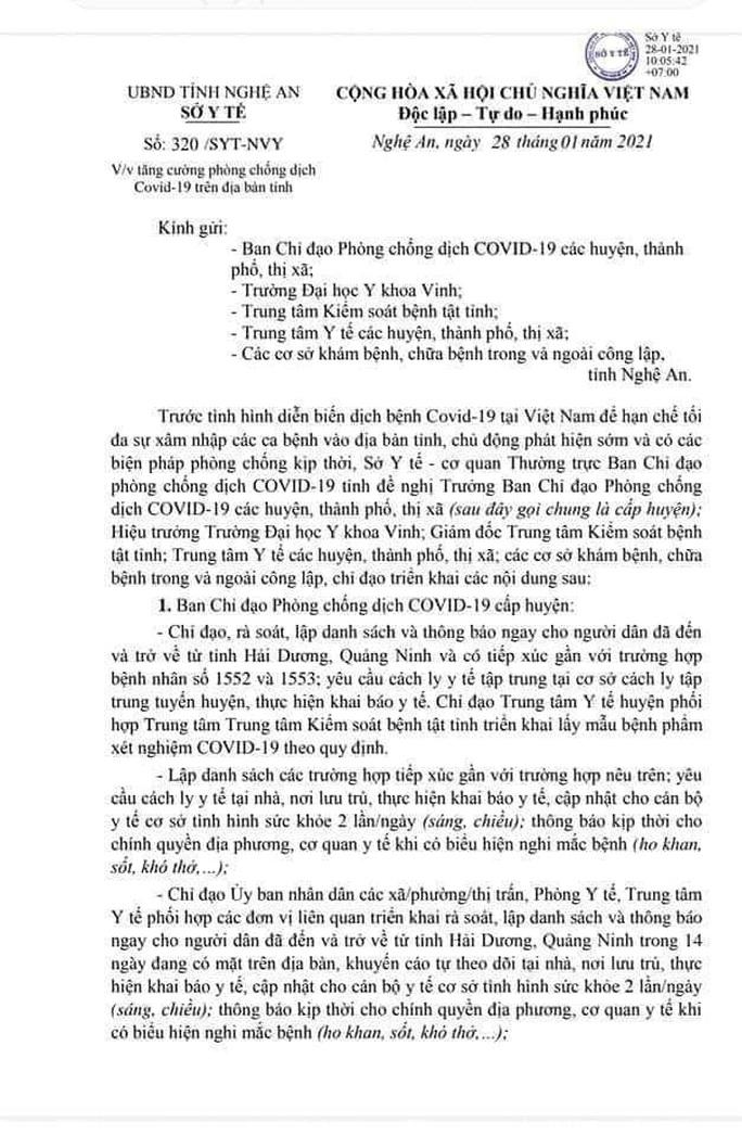 Hà Tĩnh, Nghệ An cách ly những người tiếp xúc với F1 của bệnh nhân 1553 - Ảnh 1.
