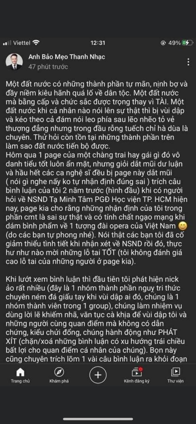Bị chê hát dở, NSND Tạ Minh Tâm nói gì? - Ảnh 2.