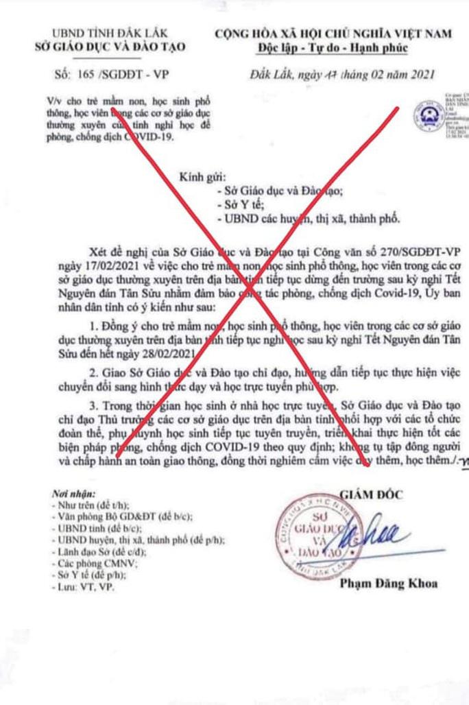 Giả mạo văn bản Sở GD-ĐT Đắk Lắk cho học sinh nghỉ học - Ảnh 1.