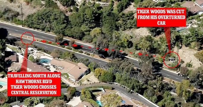 Siêu sao Tiger Woods thoát chết sau màn lật xe kinh hoàng - Ảnh 2.