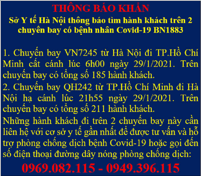 KHẨN: Tìm gần 400 hành khách đi cùng 2 chuyến bay với bệnh nhân 1883 từ Hà Nội đi TP HCM và ngược lại - Ảnh 1.