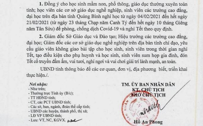 Công văn hỏa tốc ở Quảng Bình khiến phụ huynh, học sinh thích thú - Ảnh 1.