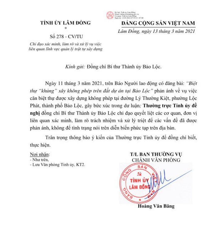 Thường trực Tỉnh ủy Lâm Đồng chỉ đạo xử lý vụ biệt thự khủng xây không phép - Ảnh 2.