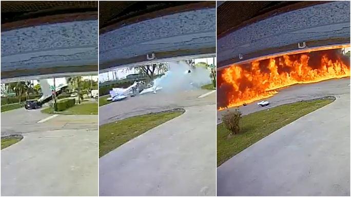 Kinh hoàng máy bay đâm vào xe hơi nổ thành quả cầu lửa - Ảnh 1.