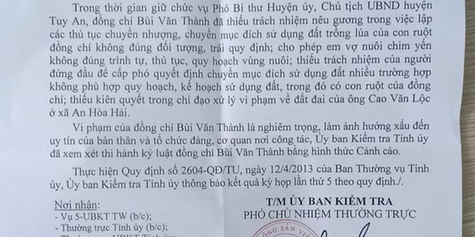 Phú Yên: Cảnh cáo Chủ tịch huyện vì liên quan đất đai - Ảnh 1.