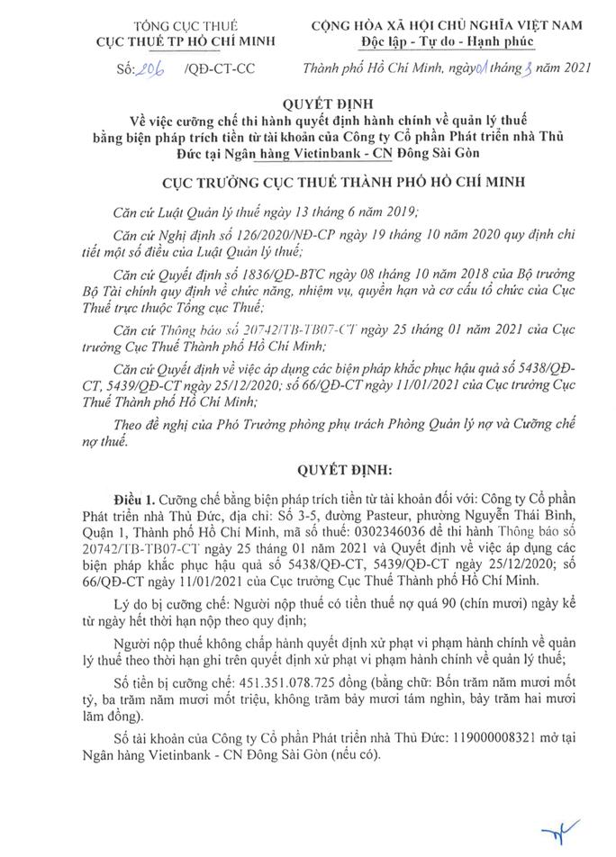 Khẳng định truy thu đúng pháp luật, Cục Thuế cưỡng chế 451 tỉ đồng với Thuduc House - Ảnh 1.