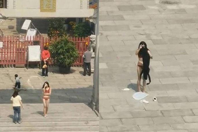 Dân mạng lùng sục cô gái thoát y, quỳ lạy trước chùa - Ảnh 2.