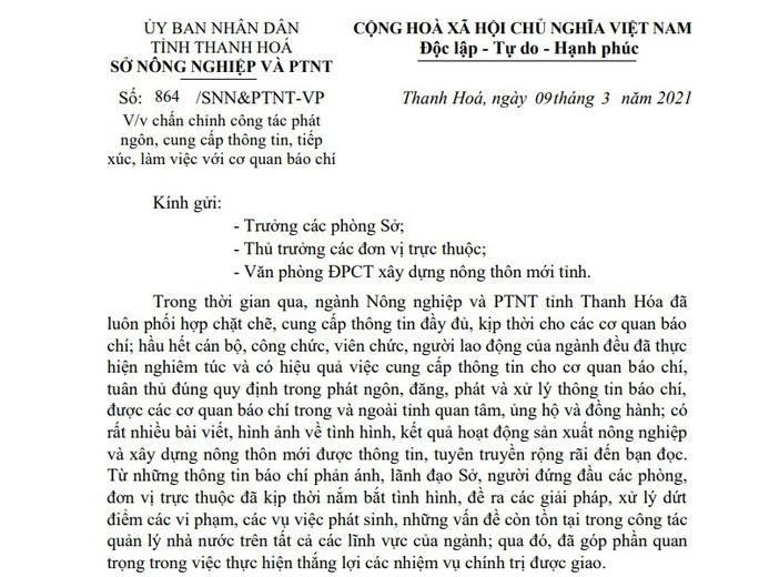 Sau phát ngôn sốc của Chi cục trưởng Thủy lợi, Giám đốc Sở NN-PTNT Thanh Hóa ra văn bản chấn chỉnh - Ảnh 1.