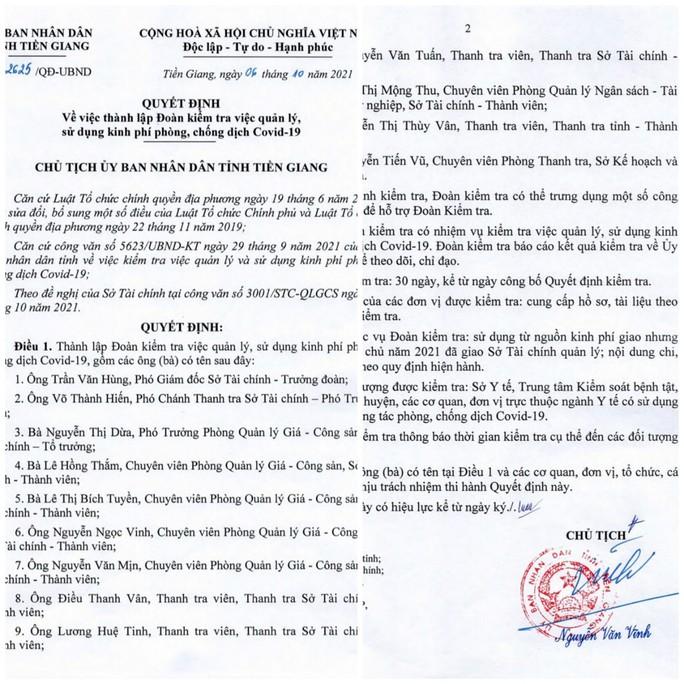 Tiền Giang thành lập đoàn kiểm tra kinh phí phòng, chống Covid-19 - Ảnh 1.