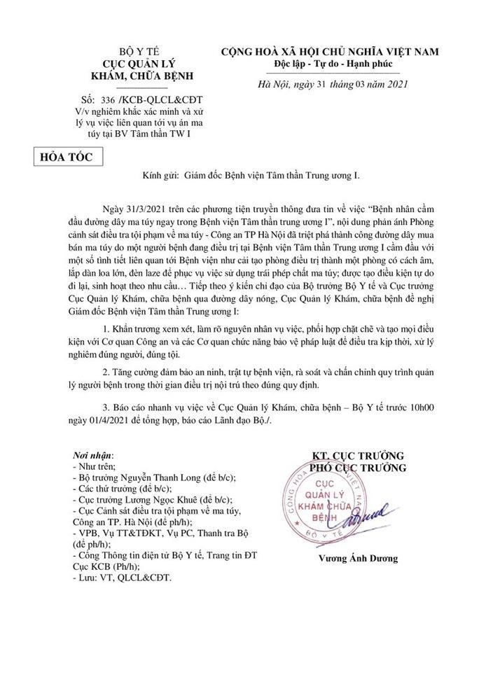 Bệnh viện Tâm thần Trung ương I  phản hồi Bộ Y tế về vụ đường dây ma túy trong bệnh viện - Ảnh 2.