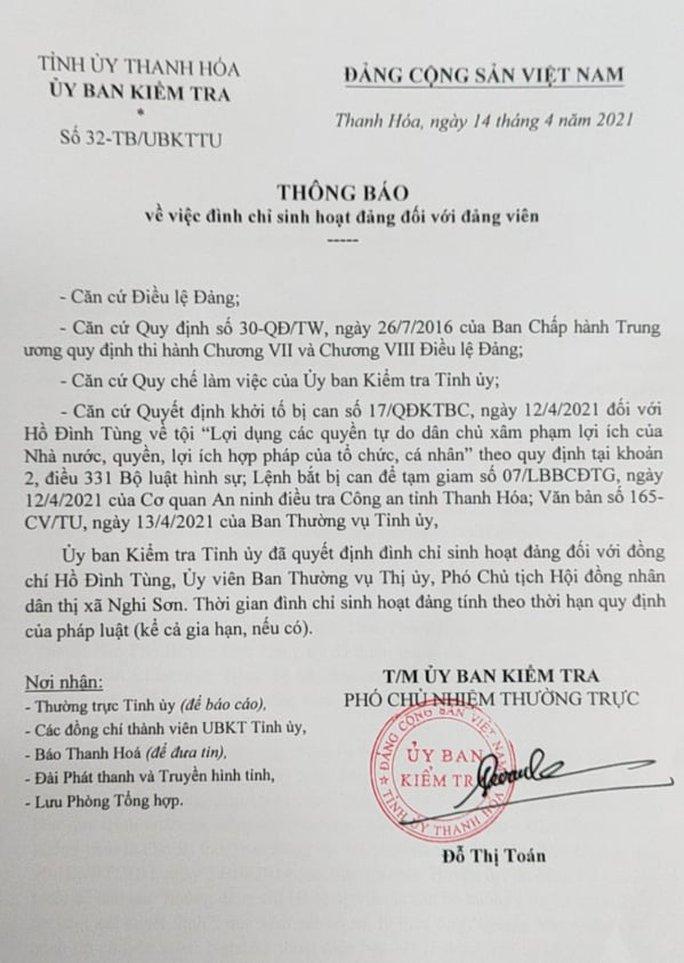 Đình chỉ sinh hoạt Đảng Phó chủ tịch HĐND thị xã Nghi Sơn - Ảnh 2.