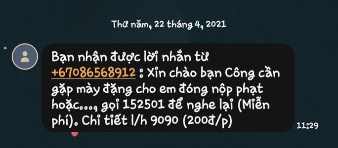 CSGT TP HCM nói gì về tin nhắn dụ đóng phạt nguội? - Ảnh 1.