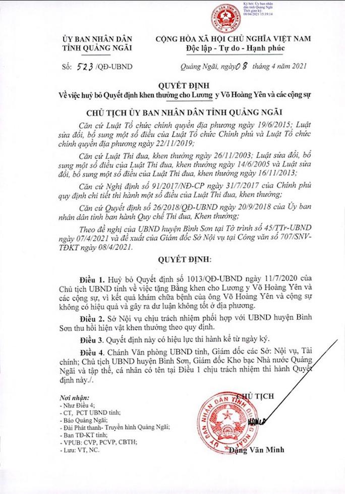 Quảng Ngãi: Hủy bỏ quyết định khen thưởng thần y Võ Hoàng Yên - Ảnh 2.