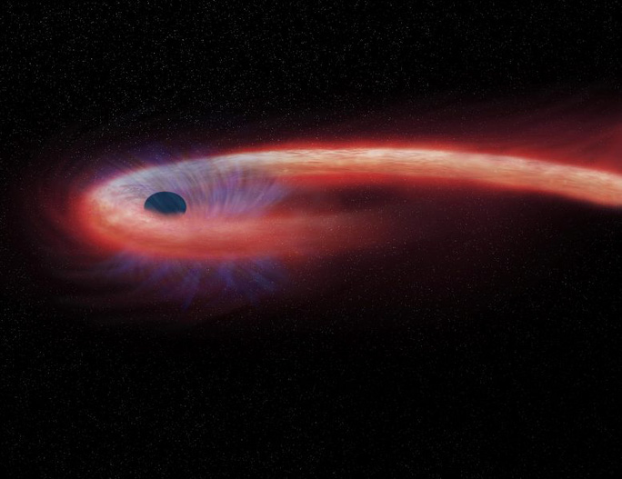 Kinh hãi ngôi sao hình... sợi mì, quấn chặt lỗ đen quái vật - Ảnh 1.