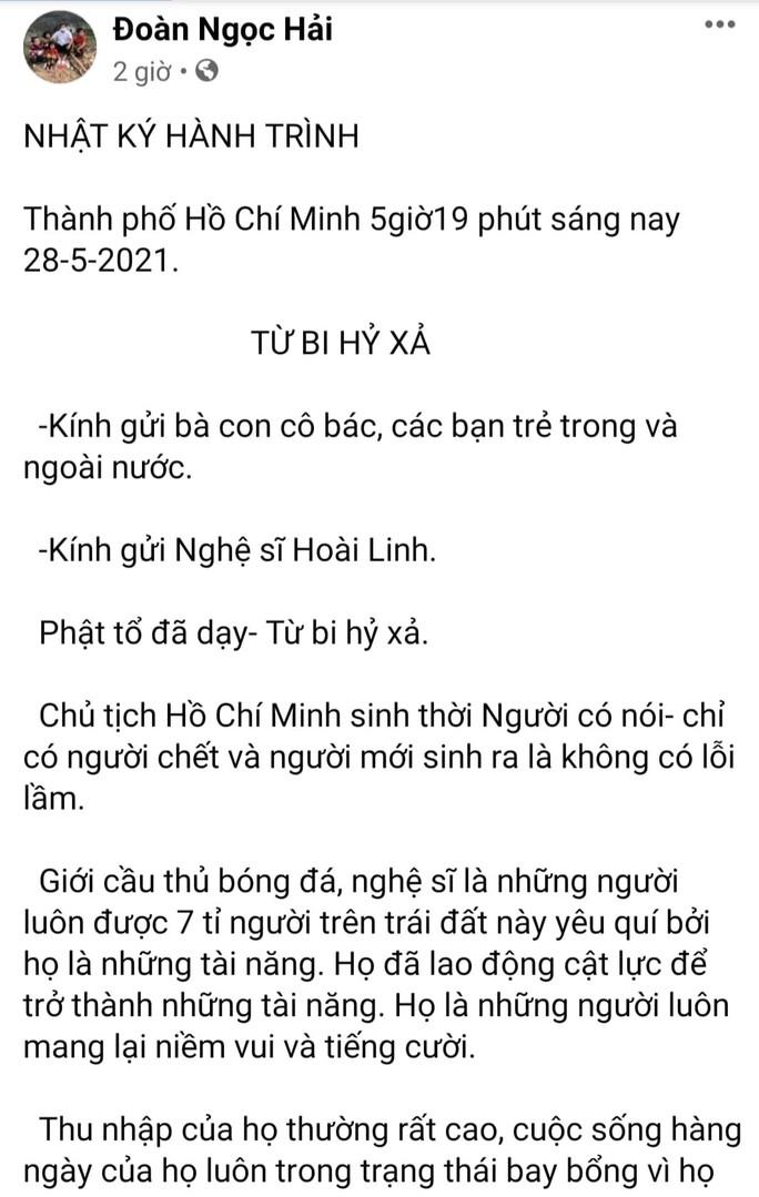 Ông Đoàn Ngọc Hải viết tâm thư gửi nghệ sĩ Hoài Linh - Ảnh 1.
