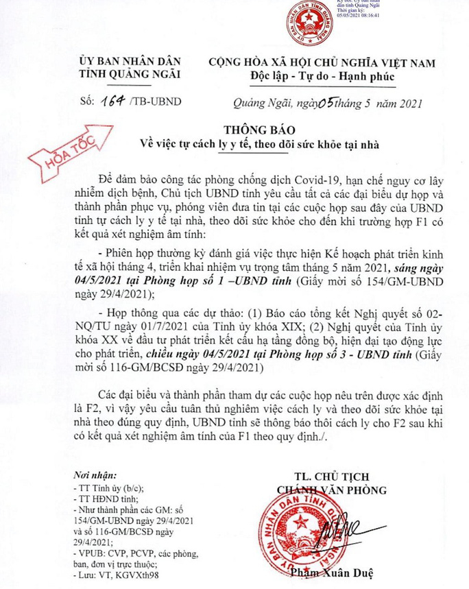 Hàng loạt cán bộ tỉnh Quảng Ngãi phải cách ly chờ kết quả xét nghiệm Covid-19 - Ảnh 1.