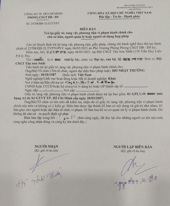 CSGT Tân Sơn Nhất xin lỗi về vụ phạt nhầm gây xôn xao mạng xã hội - Ảnh 1.